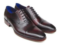 Paul Parkman Men's Captoe Oxfords Black Purple Shoes (ID
