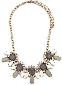 FOREVER 21 Rhinestone Petal Statement Necklace
