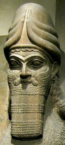 Assyria. From the palace gate at Calah, with human-headed winged bull and winged lion. 9th century BCE.
