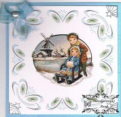 Geborduurde kerstkaart, patroon is van stitch & do