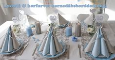 lyseblå og hørfarvet borddækning til barnedåb Boys 1st Birthday Party Ideas, 1st Boy Birthday, Boy Baptism, Marie, Diy And Crafts, Table Settings, Baby Shower, Table Decorations, Creative