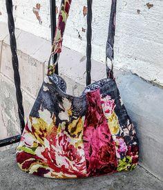 Linen floral boho bag with pink velvet