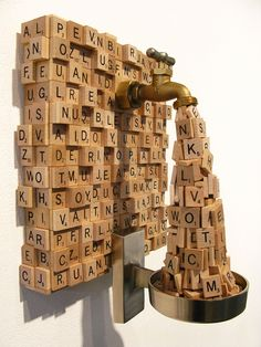 Scrabble Sculpture by Ron Ulicny