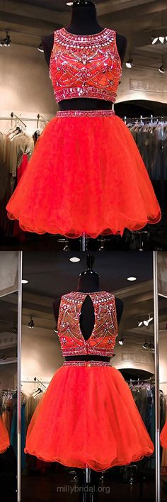 Red Homecoming Dresses,A-line Scoop Neck Watermelon Party Gowns, Tulle Short Cocktail Dress, Beading Two Piece Prom Dresses