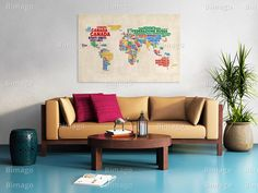 Quadro Italian names of countries in vivid colors
