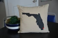 Charcoal Gray Florida Pillow Cover Any state by HomeSweetMichigan