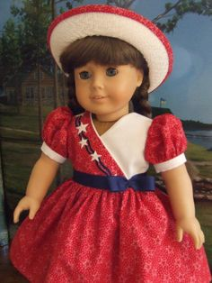 By agseamstress on Etsy - American Girl Molly's Patriotic Holiday dress, and matching hat Sewing Doll Clothes, Sewing Dolls, Girl Doll Clothes, Doll Clothes Patterns, Clothing Patterns, Girl Dolls, Doll Patterns, Barbie Clothes, Dress Patterns