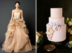 Wedding cakes inspired by bridal gowns