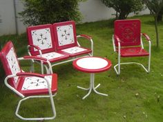 1950s yard furniture ah yes the metal patio furniture would burn rh pinterest com retro style garden furniture vintage style outdoor furniture