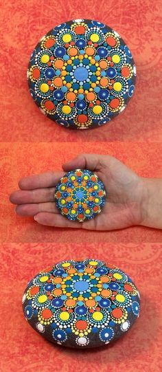 """Mandala Stone (Junior) by Kimberly Vallee: Hand painted with acrylic and protected with a matt finish, this """"junior"""" stone is a bit smaller than my usual stones, at a little over 2"""" diameter. It is one-of-a-kind."""