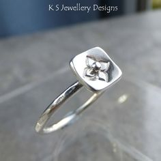 Stamped Flower Square Sterling & Fine Silver Ring v3 Stackable Shiny or Oxidised £25.00