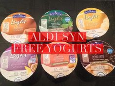 Syn free yogurts from Aldi. Syn free snacks for those on the slimming world diet. astuce recette minceur girl world world recipes world snacks Aldi Slimming World Syns, Slimming World Shopping List, Slimming World Syn Values, Slimming World Recipes Syn Free, My Slimming World, Slimming Eats, Syn Free Snacks, Syn Free Food, Syn Free Yogurts