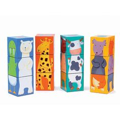 - The 12 Colour Animals Cubes from Djeco is a classic game and great to learn about trial and error and to start the early stages of puzzling! Your little one will try to turn those cubes round and round. Puzzle Djeco, Animal Puzzle, Cube Puzzle, Colorful Animals, Crazy Animals, Baby Gadgets, Infant Activities, Wood Toys, Woodland Animals