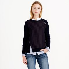 Pinstripe zip sweater : sweatshirts   J.Crew