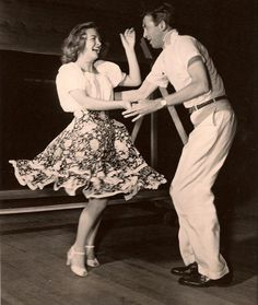 James Stewart and Donna Reed rehearsing for the dance scene in It's a wonderful life, 1947.