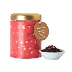 DavidsTea [Davids Tea] Santa's Secret Collectible Tin ... Christmas garland decorated limited edition cylinder shape tin holding minty black tea with candy cane sprinkles, 2016, Canada
