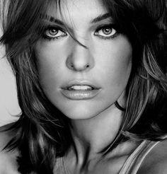 Milla Jovovich black and white portrait