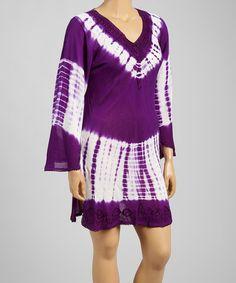 Another great find on #zulily! Purple & White Tie-Dye Crochet V-Neck Tunic - Plus #zulilyfinds