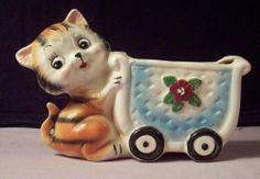 Vintage Orange Black Stripe Tabby Kitten Cat Ceramic Planter Japan