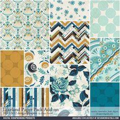 Lakeland Add-On Paper Pack #patterns #patterned #collage #blues #color #golden #chevron #instantdownload
