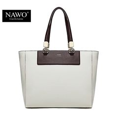 NAWO 2016 High Quality Women Leather Handbags Panelled European and American Style Large Capacity Tote Bags Portable Female Bags