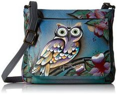 Anuschka Handpainted Leather Shoulder Bag, Midnight Owl