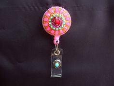 Retractable Name Badge Reel - Upcycled Vintage Jewelry - Pink Gold and Turquiose Brooch (#02) - ID Holder
