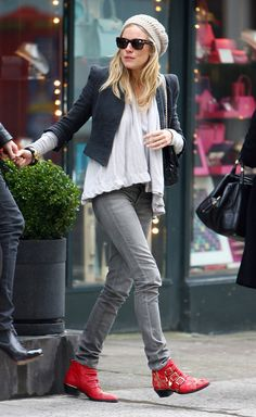 Sienna Miller in her Chloe studded ankle boots- also love the cropped jacket & hat