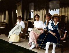 Empress ALexandra Fyodorovna Romanova of Russia with three of her daughters Grand Duchesses Tatiana, Olga and Anastasia aboard imperial yacht Standart. by lula