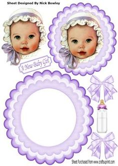 Baby Girl in bonnet with lilac bows bottle rocker on Craftsuprint - Add To Basket!