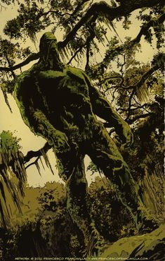 """Swamp Thing (Dr. Alec Holland) (Human/Mutate) (Houma, Louisiana, U.S.A.) Plant elemental; former chemist, botanist. Elemental Control (has complete mastery over all forms of plant life) Superhuman Strength. Immortality. Resurrection. Self-Sustenance. 8' 8"""" tall."""
