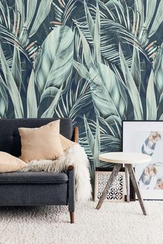 Tropical Wallpaper, Palm Leaf Wallpaper, Accent Wallpaper, Office Wallpaper, Temporary Wallpaper, Botanical Wallpaper, Wallpaper Decor, Wallpaper For Home, Apartment Wallpaper