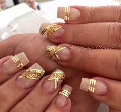 Romantic Nails, Elegant Nails, Stylish Nails, Glam Nails, Hot Nails, Beauty Nails, Line Nail Designs, Colorful Nail Designs, Fabulous Nails