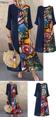 Print Patchwok Long Sleeve Plus Size Dress - Plus Size Casual Dresses - Ideas of. Hijab Fashion, Fashion Dresses, Dresses Uk, Evening Dresses, Shirt Diy, Dress Plus Size, Plus Size Casual, Casual Dresses Plus Size, Mode Outfits