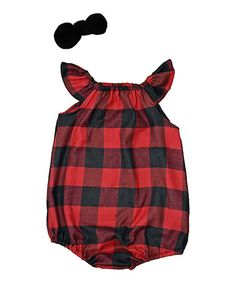 Loving this Red & Black Buffalo Plaid Flutter-Sleeve Romper & Bow - Infant on #zulily! #zulilyfinds