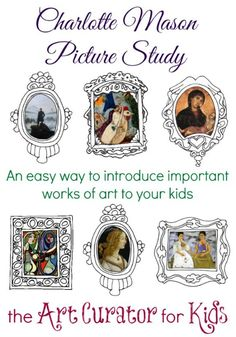 the Art Curator for Kids - Charlotte Mason Picture Study. PDF lessons with artwork the Art Curator for Kids - Charlotte Mason Picture Study. PDF lessons with artwork 7 Arts, Classical Education, Art Education, History For Kids, Charlotte Mason, Home Schooling, Art Studies, Elementary Art, Montessori Elementary
