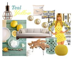 """""""Teal & Yellow Decor"""" by wallsja ❤ liked on Polyvore featuring interior, interiors, interior design, home, home decor, interior decorating, Abbyson Living, Global Views, CB2 and Taylor Marie Studio"""