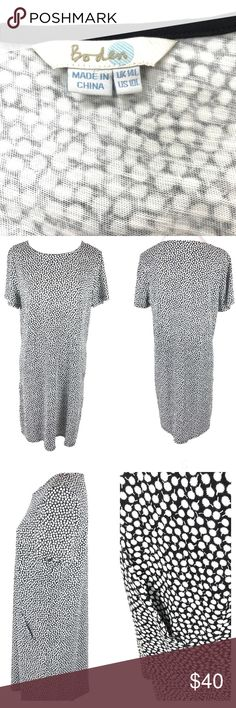 """Boden Black & White Polka Dot Shift Dress Size 10L Boden Black & White Polka Dot Shift Dress With Pockets Women's Size 10L  Pit to Pit: 20""""  Length: 38""""  Condition: Excellent pre-owned condition. Dresses Midi"""