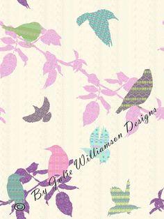 fair isle bird fabric design - for the kitchen