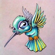 Cute Cartoon Hummingbird Tattoo Design - Really Cool Tattoo Designs and Sketches – Cute Cartoon Hummingbird -