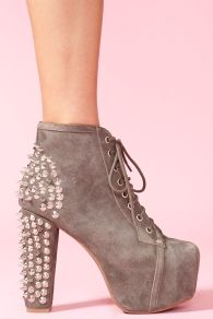 Spike Platform Boot - Gray Suede, jeffrey campbell
