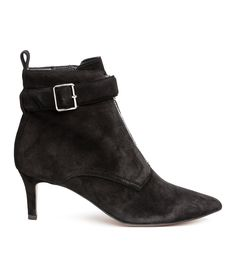 Check this out! PREMIUM QUALITY. Suede ankle boots with pointed toes. Side zip, decorative zip and strap with metal buckle at front, and a loop at back. Fabric lining, leather insoles, and rubber soles. Heel height 2 1/2 in. - Visit hm.com to see more.