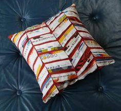 Chevron selvage throw pillow