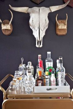 antlers, wall color, bar cart