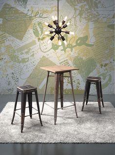 Marius Bar Chair, Sapphire Ceiling Lamp Small, Titus Bar Table