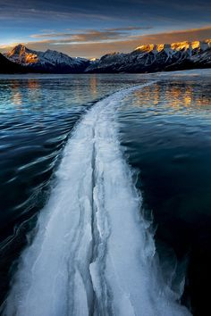Into the Void... Large crack in a windy and frozen lake (Canadian Rockies).
