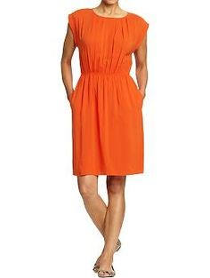 Womens Pleated-Keyhole Dresses
