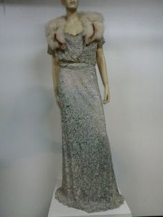 1930s 2-Piece Baby Blue Metallic Lace Gown w/ Fox Trimmed Jacket