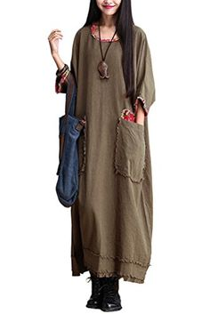 Mordenmiss Women's Bat Sleeve Cotton Linen Clothing Plus Size Dress Brown Green Mordenmiss http://www.amazon.com/dp/B00OG42OW8/ref=cm_sw_r_pi_dp_CDUXub0BAH5R4