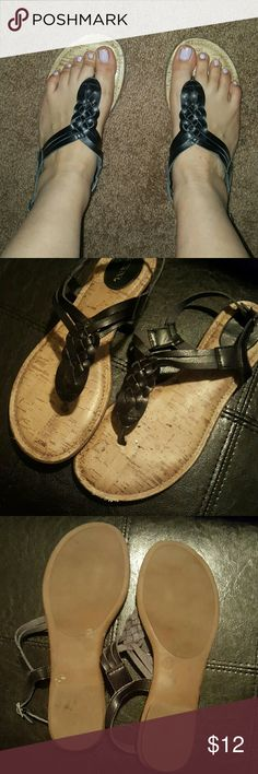 JUST IN Merona Sandals Braided black sandal. Silver buckle. Padded on sole. Merona Shoes Sandals